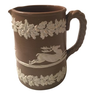 Antique Drabware Deer & Dogs Jug