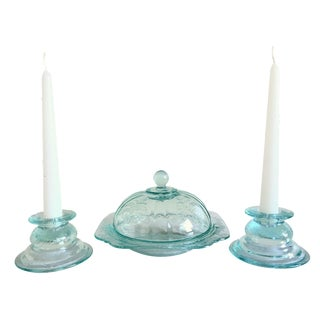 Mint Green Glass Candleholders & Candy Dish - S/3