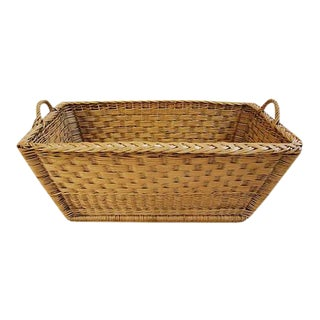 French Woven Willow Wicker Basket W/ Handles