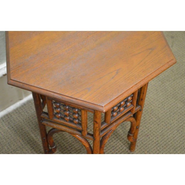 Antique Oak Stick & Ball Hexagon Taboret Plant Stand - Image 6 of 11