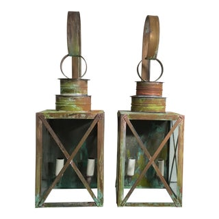 Architectural Wall Hanging Copper Lantern - A Pair