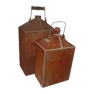 Vintage Rustic Metal Gas Cans - A Pair