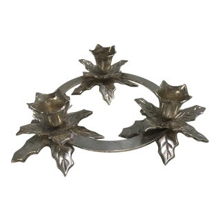 Silver Plate Holly Candleholder
