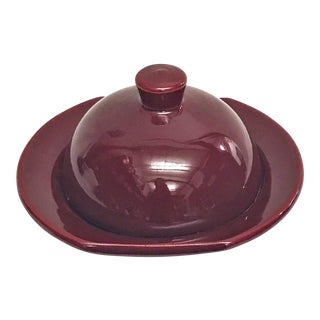 Hand Painted Burgundy Moroccan Ceramic Serving Dish