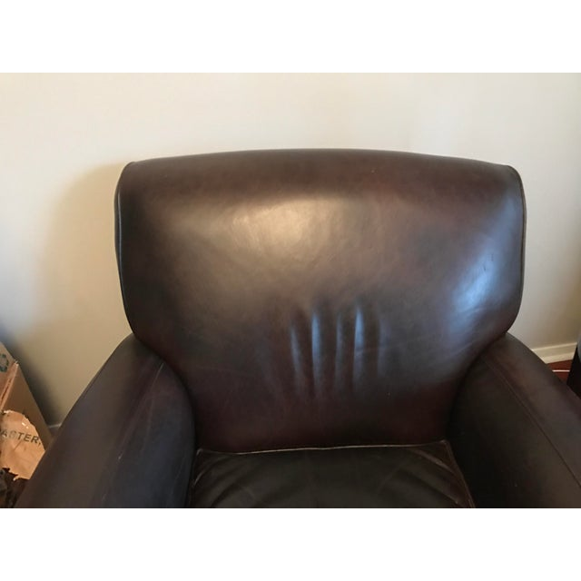 Pottery Barn Manhattan Leather Chair & Ottoman - Image 3 of 8