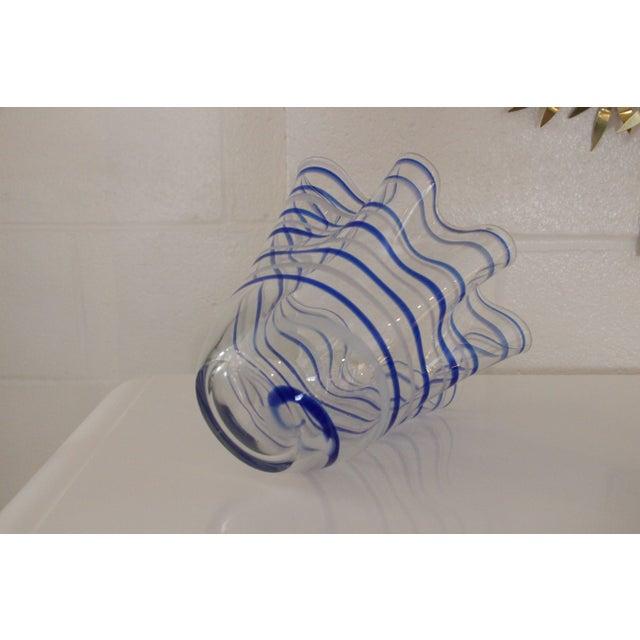 Vintage Blue Striped Handkerchief Vase - Image 4 of 4