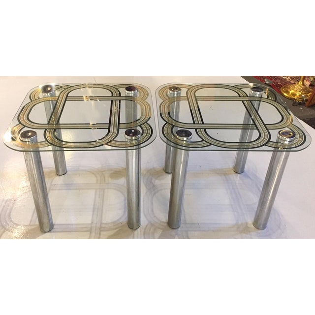 Mid Century Graphic Top Glass &Chrome Side Tables - a Pair - Image 6 of 7