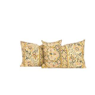 Vintage 1970's Block Print Pillows - A Pair