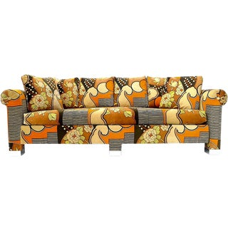 Milo Baughman Style Jack Larsen Velvet Sofa