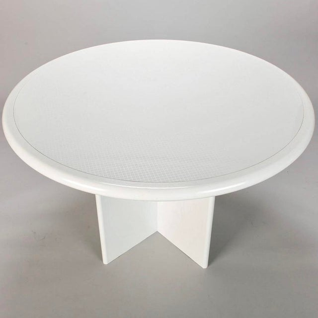 Mid Century White Lacquered Round Table - Image 3 of 8