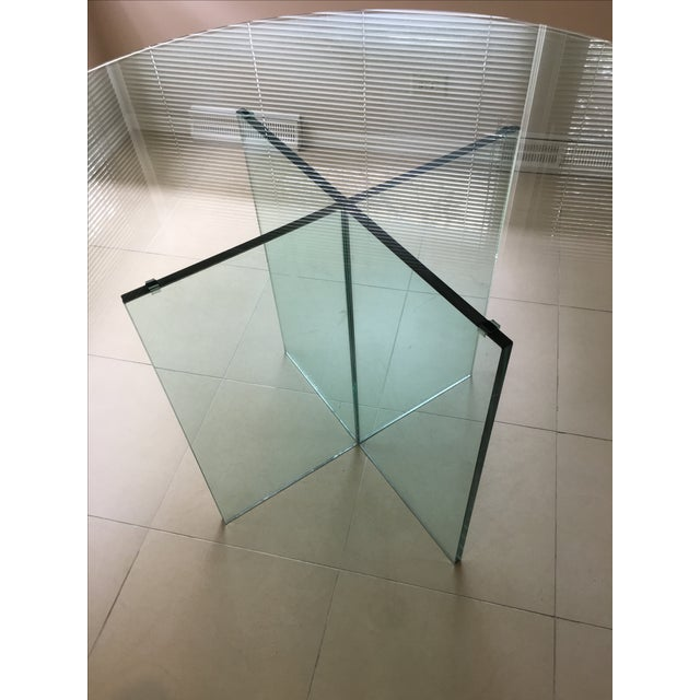 X-Base Round Top Glass Dining Table - Image 5 of 7