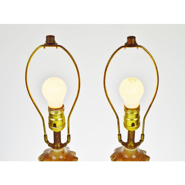 Vintage Ceramic Glazed Table Lamps - A Pair - Image 3 of 10