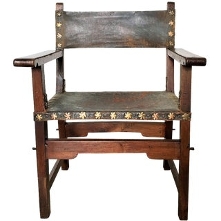 17th-C. Hide & Joined Walnut Side Chair