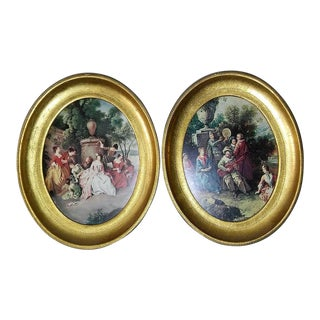 Vintage Italian Florentine Wood Wall Plaque - A Pair