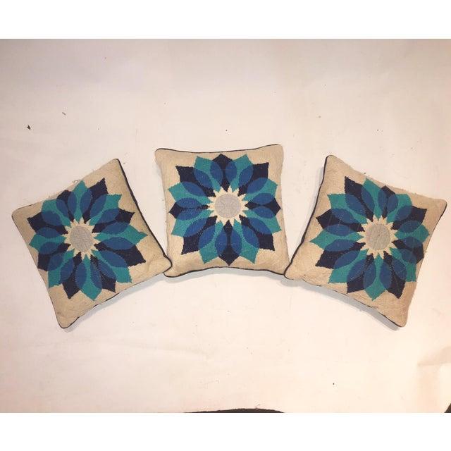 Rare Jonathan Adler Blue Flower Pillows - Set of 3 - Image 2 of 6