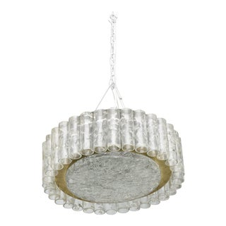 "Pair of German Modern Handblown Glass,""Doria"" Flush Mount/ Hanging Chandeliers"