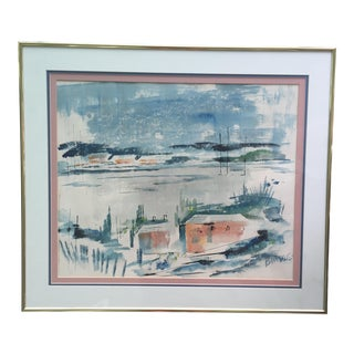 Mid Century Modern Alfred Birdsey Abstract Ocean Landscape Watercolor Painting Signed