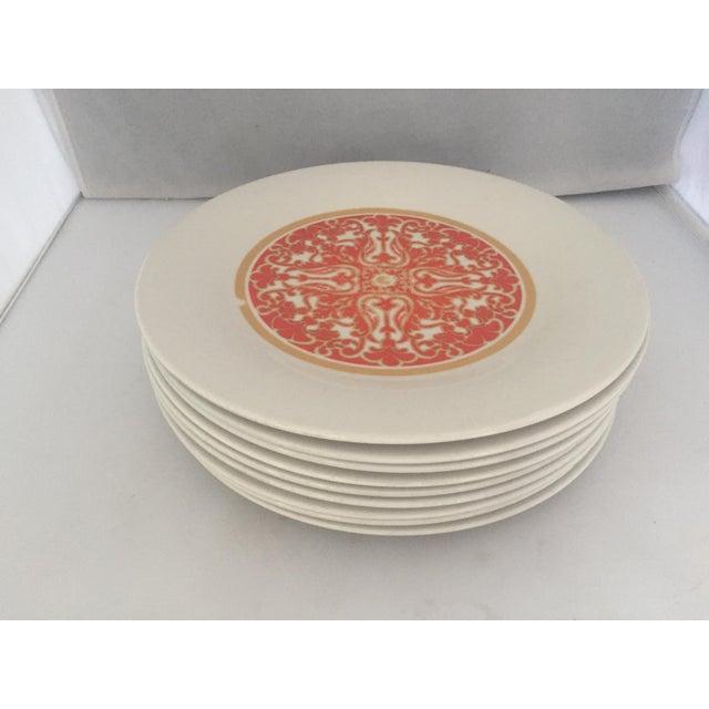 1970's Royal Doulton Orange Flower Dinner Plates S/9 - Image 3 of 9