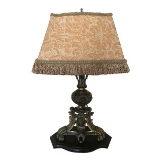 Fortuny Shaded Lion's Head Table Lamp