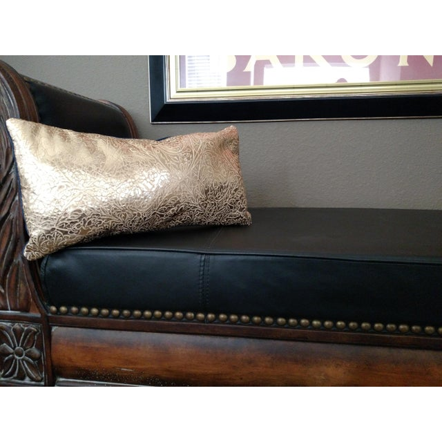 Image of Gambrell Renard Gold Leather & Velvet Pillow