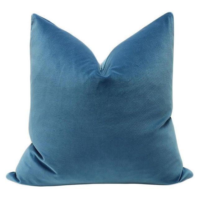 "22"" Cadet Blue Velvet Pillows - A Pair - Image 2 of 3"