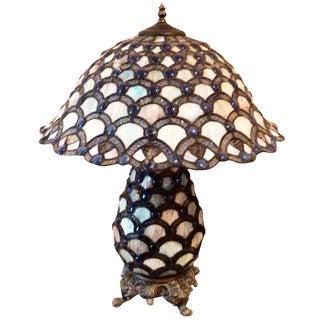 Blue & White Tiffany-Style Lamp