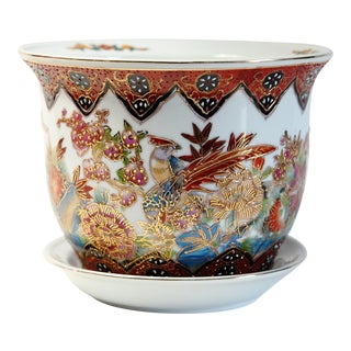 Asian Floral and Fowl Motif Planter