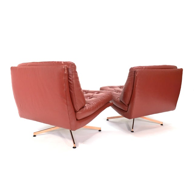 Founders Leather & Bronze Lounge Chairs - A Pair - Image 3 of 7