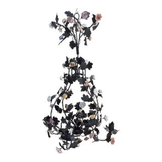 Tole & Porcelain Flower Candle Chandelier