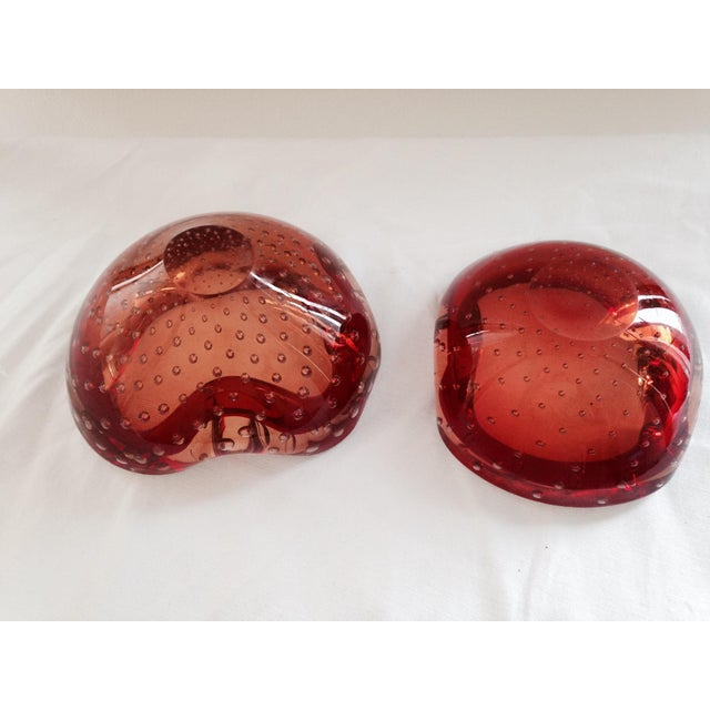 Image of Red Mid-Century Murano Bowls- a Pair