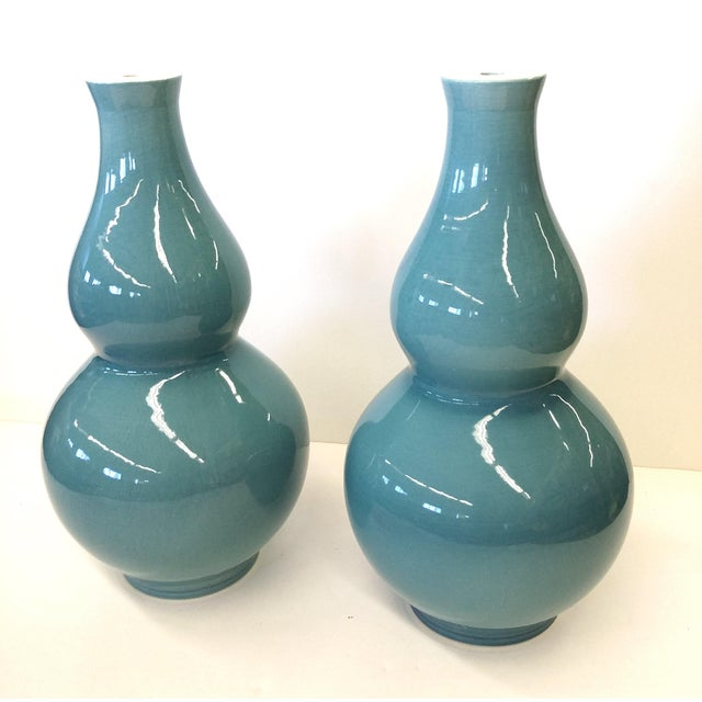 Custom Turqoise-Aqua Crackle Table Lamp Bases - A Pair - Image 6 of 8