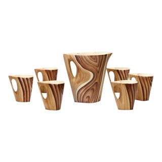 French Vallauris Faux Bois Ceramic Pitcher & Mugs - S/7