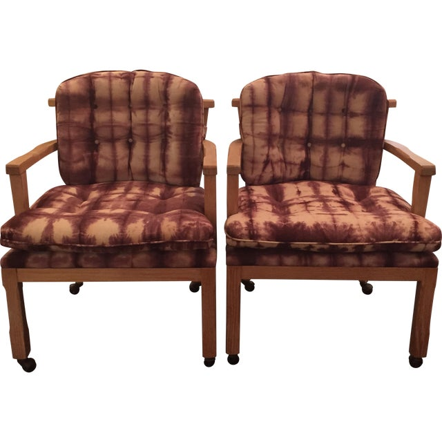 Vintage Lined Wood Armchairs on Casters - A Pair - Image 1 of 10