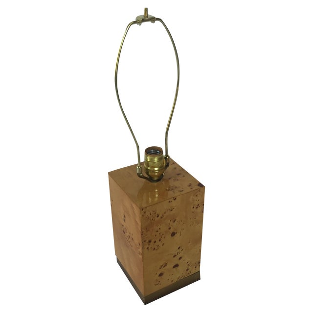 Burl & Brass Lamp in the Style of Milo Baughman - Image 1 of 6