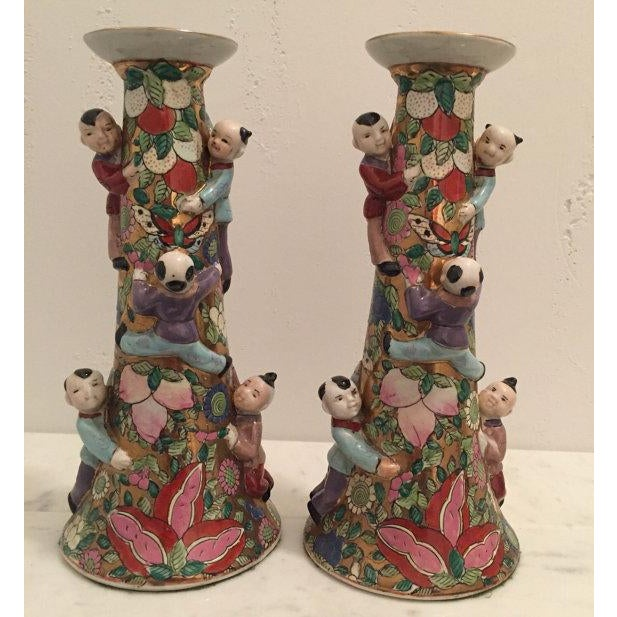 Image of Chinese Fertility Candlestick Holders - Pair