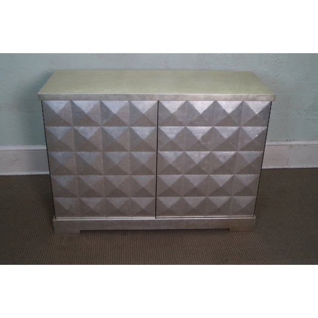 Image of Baker Barbara Barry Silver 2 Door Diamond Cabinet