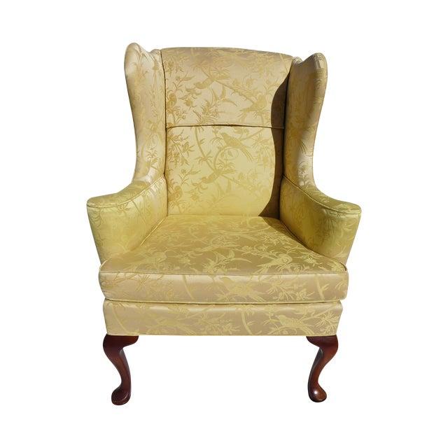 Vintage Mahogany & Yellow Damask Wingback Chair - Image 1 of 9
