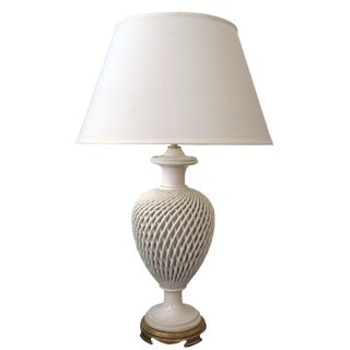 An Elegant English Creamware Lattice-Work Porcelain Lamp