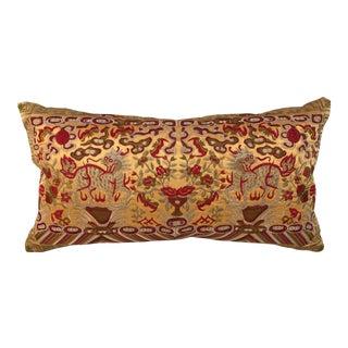 Chinoiserie Gold & Red Silk Foo Dogs Boudoir Pillow