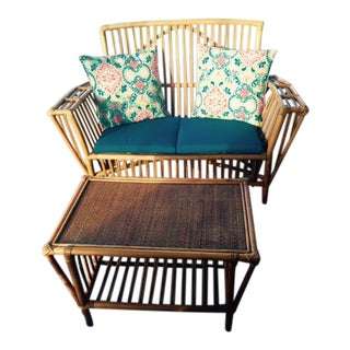 Rattan Settee & Matching Coffee Table/Ottoman