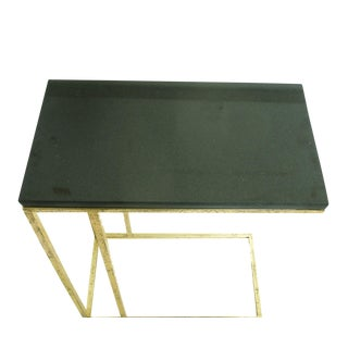 Iron Side End Table with Marble Top