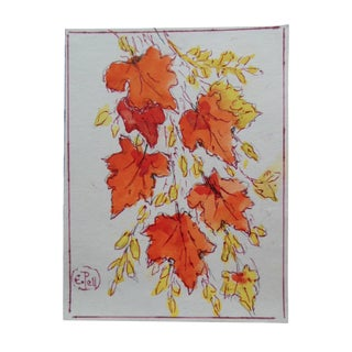 Autumn Leaves Watercolor by E. Pell