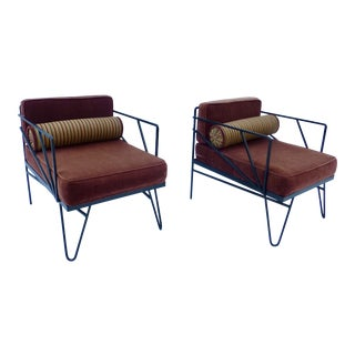 Atomic Mid Century Iron Lounge Chair - A Pair