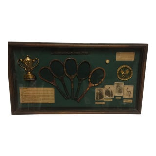 Vintage Shadow Box of The History of The Tennis Racket From the 1800's to the 1950's