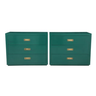 Campaign Style Nightstands, Pair