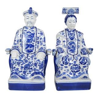 Porcelain Asian Ancestor Figures - A Pair