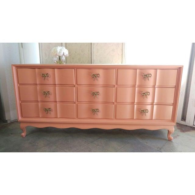 Refinished Vintage Coral Dresser - Image 3 of 5