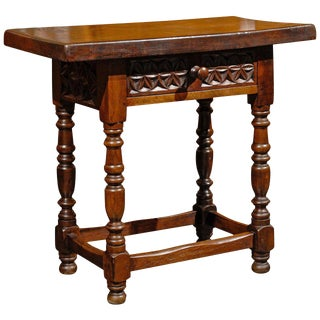 Spanish Petite Side Table with Carved Drawer and Turned Legs, circa 1880