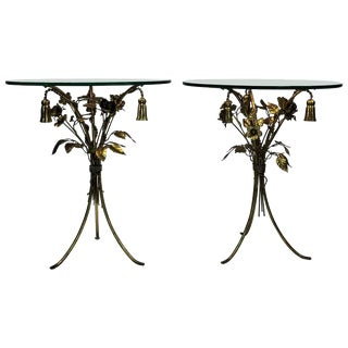 BEAUTIFUL PAIR OF ITALIAN GILT METAL FLOWER AND TASSEL FORM TABLES