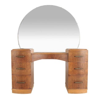 Art Deco Burlwood Vanity With Mirror